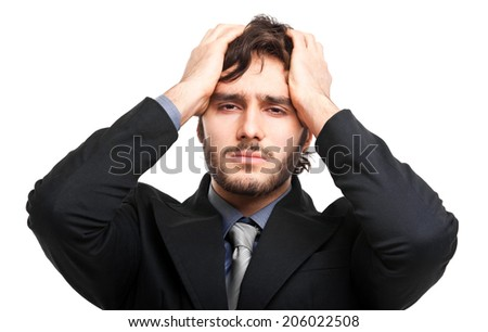 Despaired businessman isolated on whtie  - stock photo
