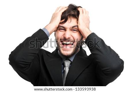 Despaired businessman portrait - stock photo