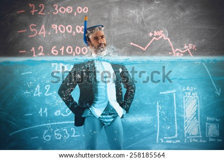 Desperate businessman in debt fight against time - stock photo