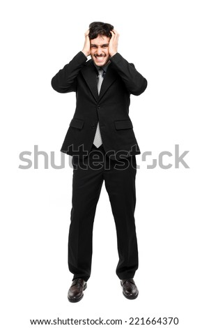 Desperate businessman portrait full length - stock photo
