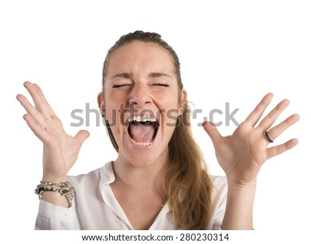Desperate businesswoman stressed out from work screams - stock photo