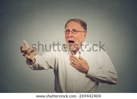 Desperate elderly man - stock photo