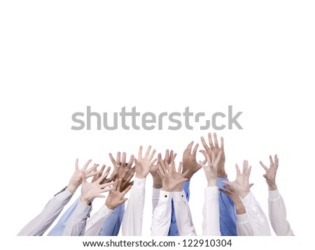 Desperate hands reaching in the air over a white background - stock photo