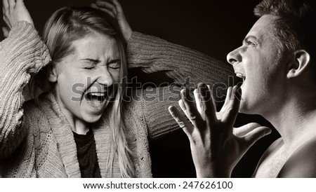 Desperate man, shouting and raging. MANY OTHER PHOTOS FROM THIS SERIES IN MY PORTFOLIO. - stock photo