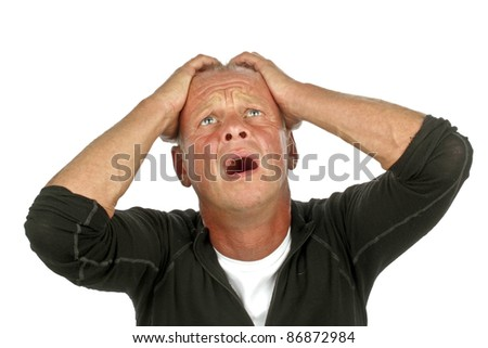 Desperate sad man on a white background - stock photo