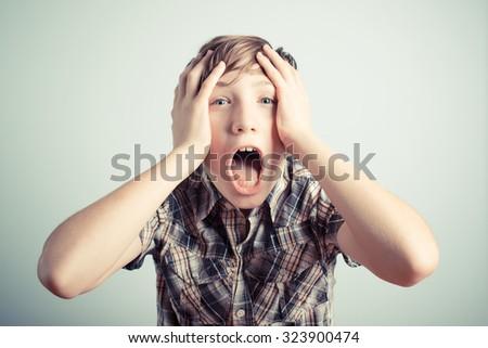 desperate schoolboy - stock photo