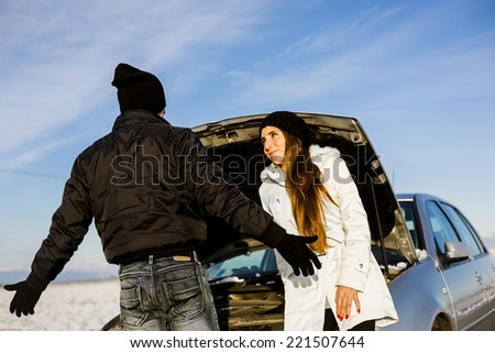 Desperate Travelers with Car Problem Waiting for Emergency Service. - stock photo