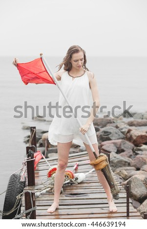 Desperate woman with red flag