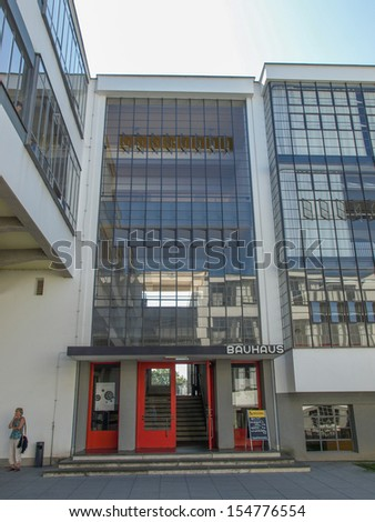 DESSAU, GERMANY - AUGUST 6: The Bauhaus building masterpiece of modern architecture in the Unesco World Heritage List on August 6, 2009 in Dessau, Germany