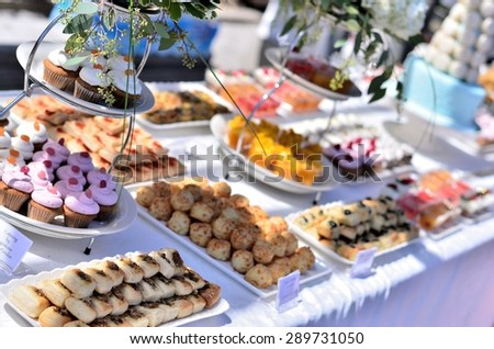Dessert at a wedding or catering event