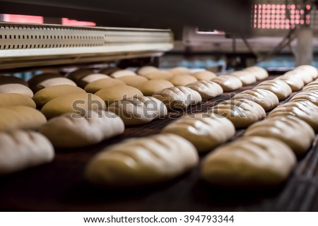 Dessert bread baking in  oven. Production oven at the bakery. Baking  bread. Manufacture of bread. - stock photo