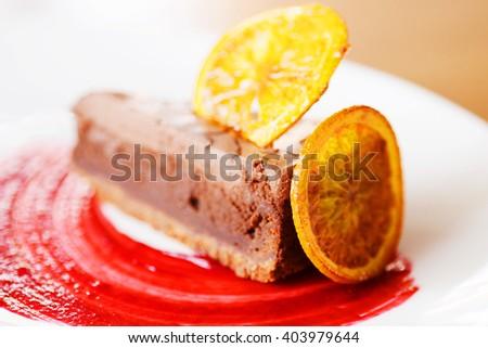 Dessert - Cake with chocolate - stock photo