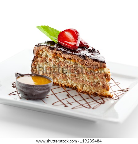 Dessert - Cake with Chocolate and Berries - stock photo