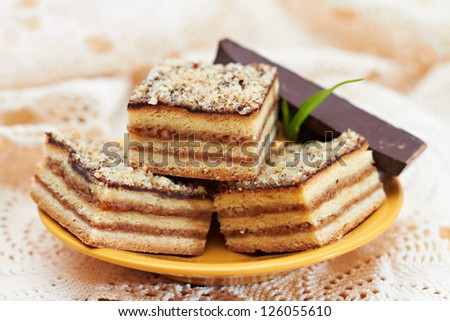 Dessert cake with chocolate and nuts - stock photo