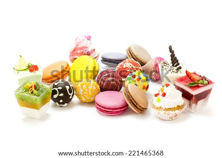 dessert, candy and cookies on a white background - stock photo
