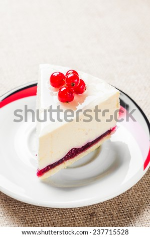 Dessert - Cheesecake with Berries red currant and coffee.