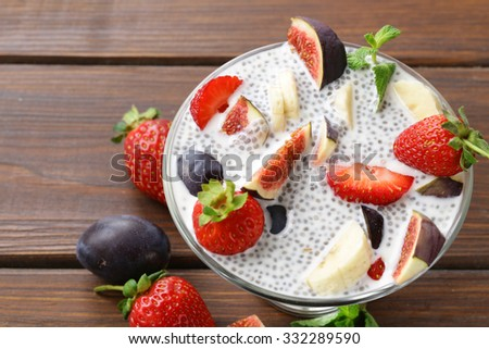 Dessert chia seed pudding with berries and fruits - healthy eating, super food - stock photo