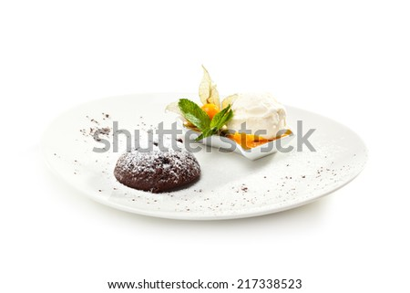 Dessert - Chocolate Fondant with Ice Cream and Fruits