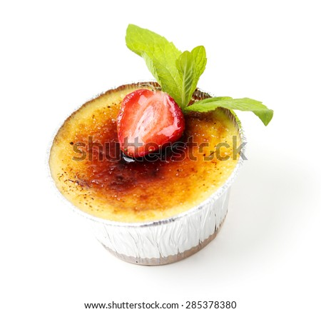 Dessert. Delicious creme brulee on the table