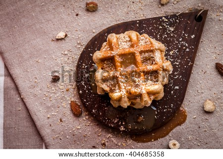 dessert, dessert with caramel, dessert with nuts, desserts with Belgian waffles - stock photo