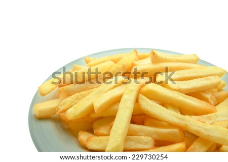 Dessert : French fries on white background