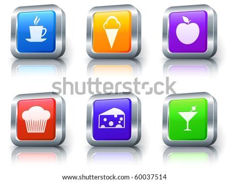 Dessert Icons on Square Button with Metallic Rim Collection Original Illustration - stock photo