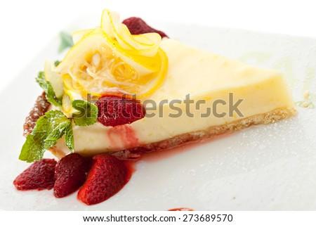 Dessert - Lemon Pie with Berries and Mint - stock photo