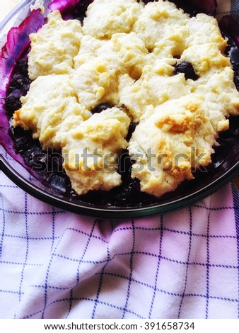 Dessert made with fresh blueberries - stock photo