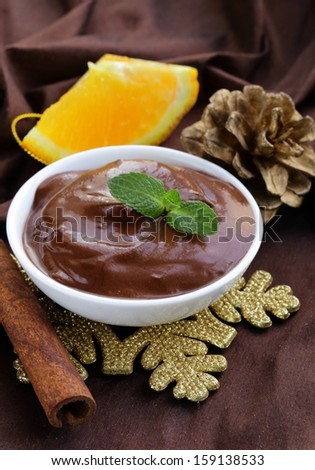 dessert of chocolate mousse (melted chocolate)