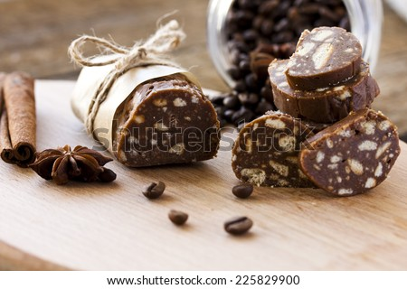 dessert of cookies, chocolate, coffee and condensed milk - stock photo