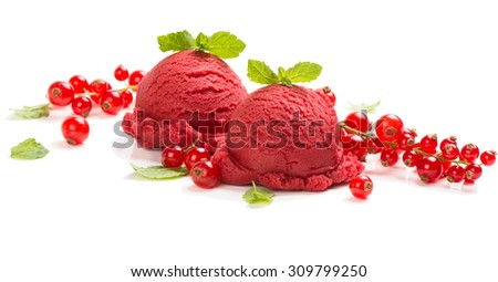 Dessert of red currant ice cream fresh berries with leaves of mint isolated on white background - stock photo