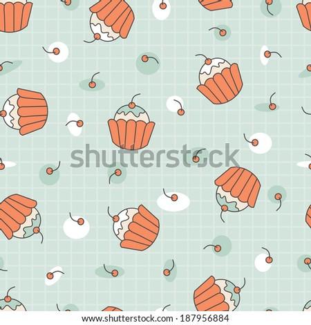 Dessert. Seamless cupcake pattern. - stock photo