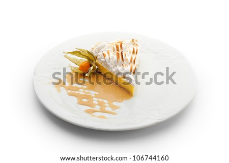 Dessert - Slice of Lemon Pie topped with Whipped Cream - stock photo