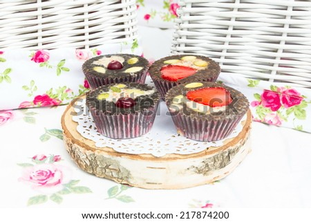 Dessert table for a party.  Cake, cupcakes, sweetness - stock photo
