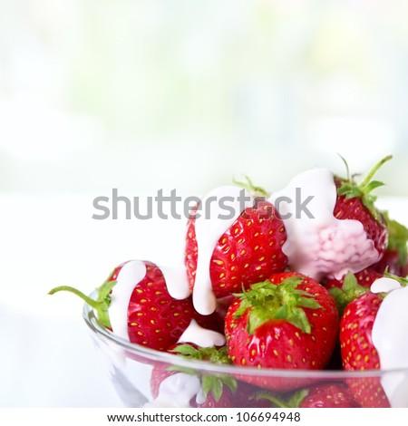 dessert with fresh strawberries - stock photo