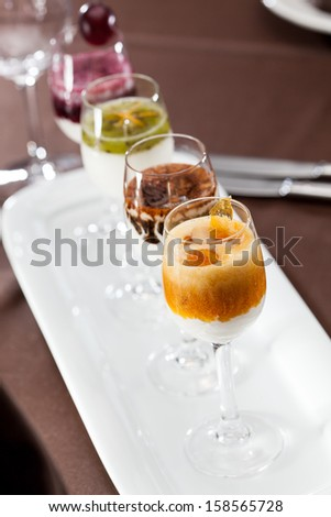 dessert with fruits - stock photo