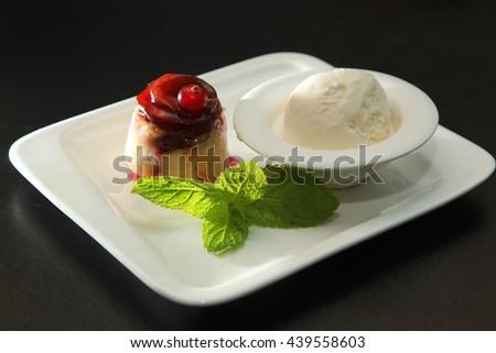 dessert with ice cream and mint