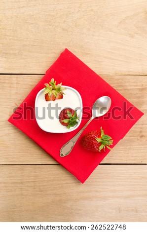 dessert with ripe strawberry - stock photo