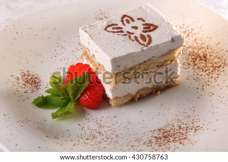 dessert with sauce on plate