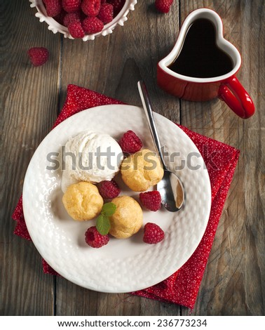 Dessert with Vanilla Ice Cream and Puff pastry filled with dairy - stock photo