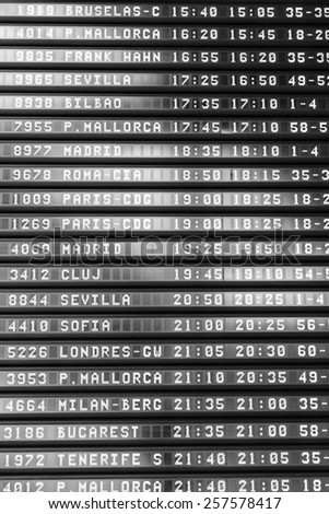 destination board from a Spanish airport