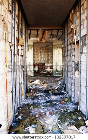destroyed and ruined interior space