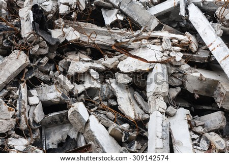 Destroyed building - rubble - stock photo