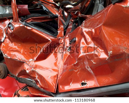 Destroyed car at the junkyard / Auto waste / Photography - stock photo