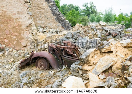 Destroyed car in Oradour sur Glane in the French Limousin