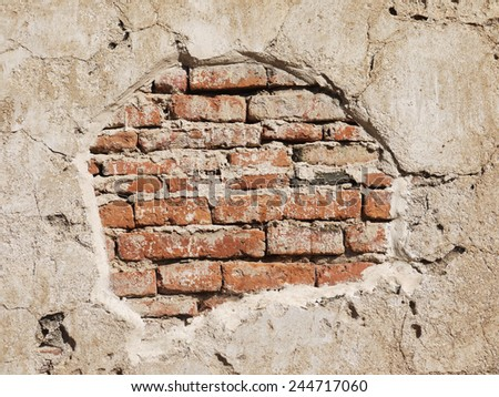 Destroyed Concrete and Brick wall - stock photo