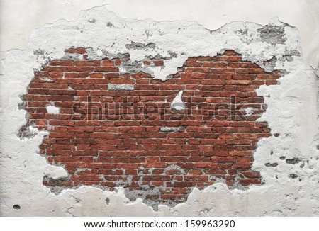 Destroyed Concrete and Brick wall in Italy - stock photo