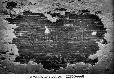 Destroyed Grunge Concrete and Brick Wall Background