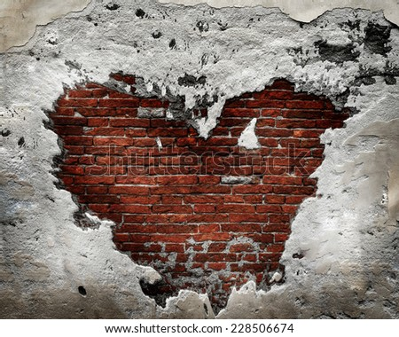 Destroyed Grunge Concrete and Brick Wall Heart
