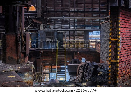 destroyed hall Foundry - stock photo
